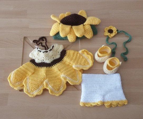 Häkelanleitung Puppenkleidung, für Sammi Sonnenblume