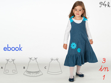 Baby dress pattern, baby-dress pattern, girls pinafore dress, tunic dress pattern, E-Book, instant PDF download,