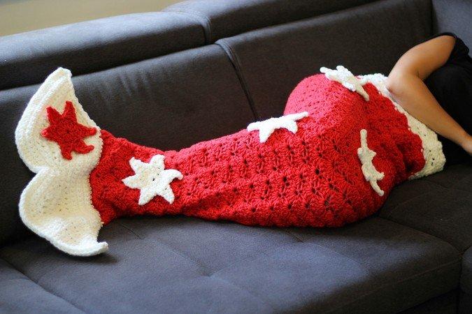 Meerjungfrauen Decke Häkeln Weihnachtsmotiv