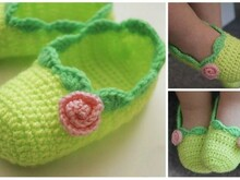 "Free crochet pattern "" Baby ballet slippers"" Size 6, 15-18 month"