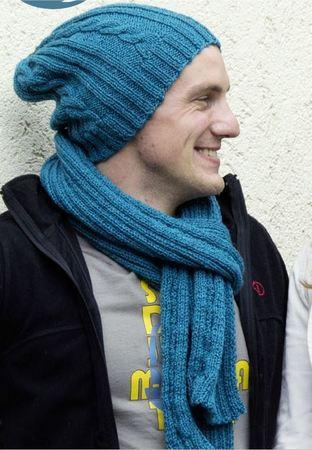 Mütze mit Schal - Zopfmuster