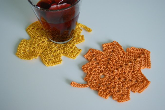 Herbstblätter Häkeln Deko Untersetzer