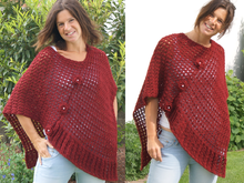 Poncho Red Flowers (Universalgröße S - XL)
