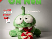 "Crochet Om Nom from ""Cut The Rope""  — original PDF pattern by Navyazala"