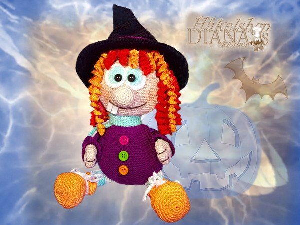 Witch Elvira and the little ghost´s - Crochet Pattern english