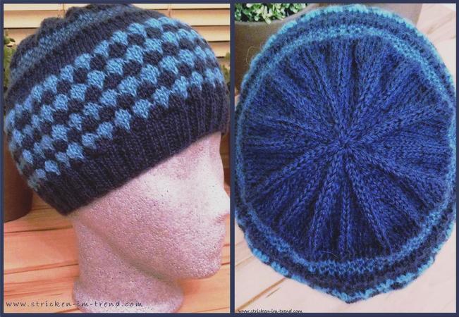 Mütze stricken / zweifarbig + hübsches Muster