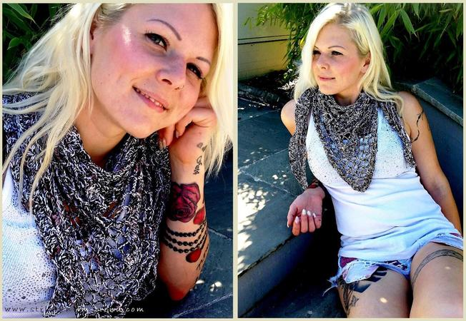 "Crochet Pattern for a triangle shawl | 3-Eckstuch ""Messiness"""