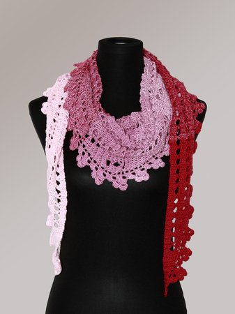 "Crochet pattern scarf, shawl ""Little Pink Clouds"""