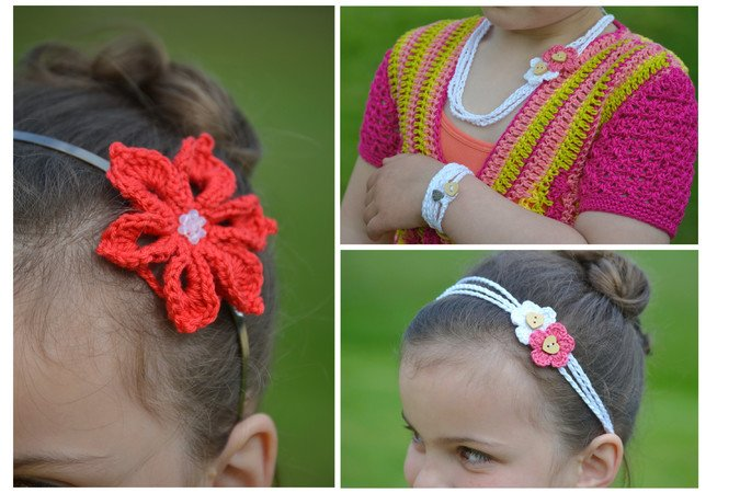 Summer Dream Schmuck Häkeln Haarband Wickelarmband Sommerblüte