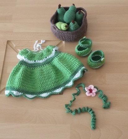 Häkelanleitung Puppenkleidung, für Bella das Birnenmädchen