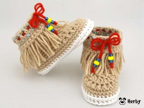 Babyschuhe häkeln // Indianer-Mokassins