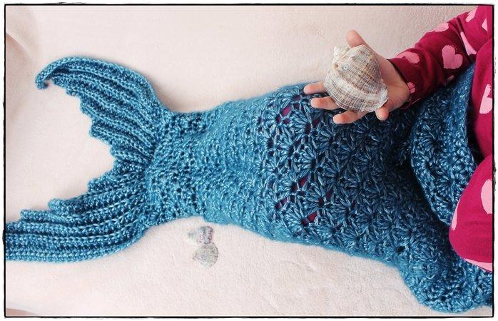 Meerjungfrauen-Decke, Häkelanleitung in 10 Größen, mit Größentabelle