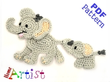 Elephant Crochet Applique Pattern