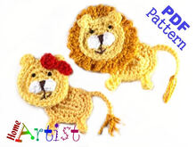 Lion Crochet Applique Pattern
