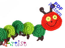Caterpillar Crochet Applique Pattern