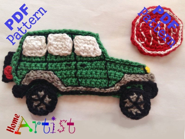 Car 2 crochet Applique Pattern
