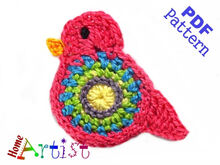 Bird Crochet Applique Pattern
