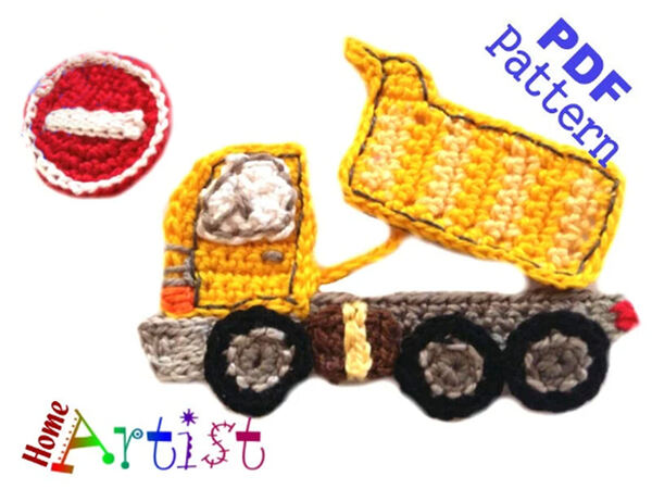 Dump Truck Crochet Applique Pattern