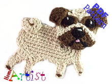 Pug Dog crochet Applique Pattern