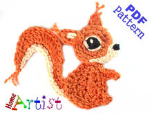 Squirrel #2 Crochet Applique Pattern