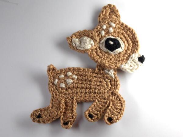 Free Crochet Reindeer Ornament Patterns : Reindeer Crochet Applique Pattern