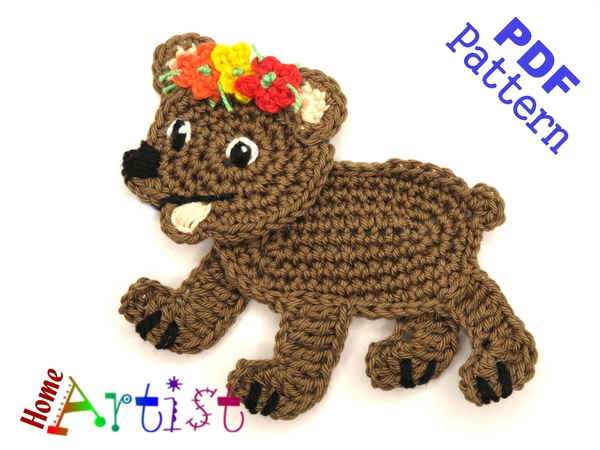 Bear Crochet Applique Pattern