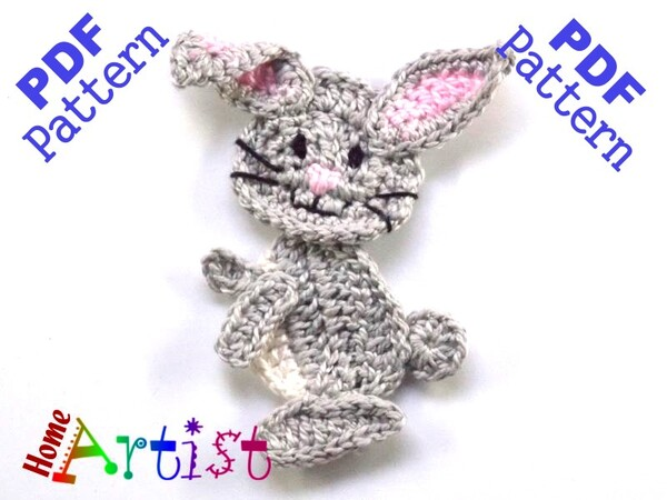 Rabbit Crochet Applique Pattern