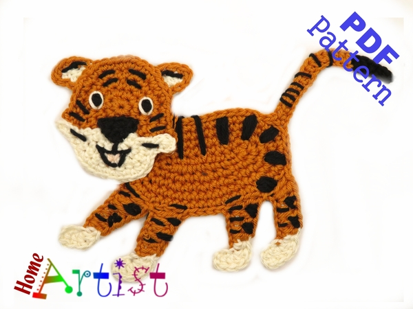 Tiger Crochet Applique Pattern