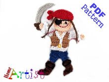 Pirat (Girl) Crochet Applique Pattern