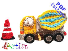 Cement mixer truck Crochet Applique Pattern