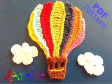 Hot air Balloon crochet Applique Pattern