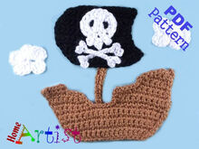 Pirate Ship Crochet Applique Pattern