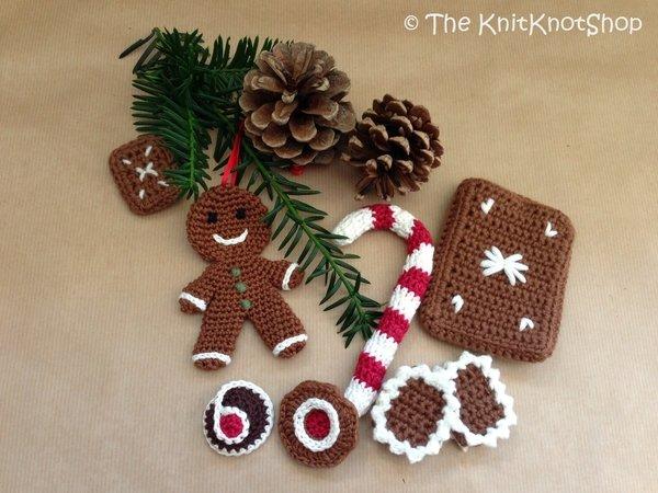 Weihnachtsdeko Häkelnlebkuchenzuckerstange