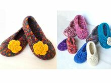 "Saving Package: Crochet Felted Slippers ""Paula"" - all sizes (EU 20/21 - 40/41)"