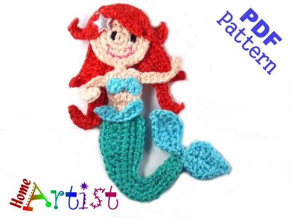 Red Heart Mermaid Amigurumi : crochet | 450x600