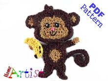 Monkey Crochet Applique Pattern
