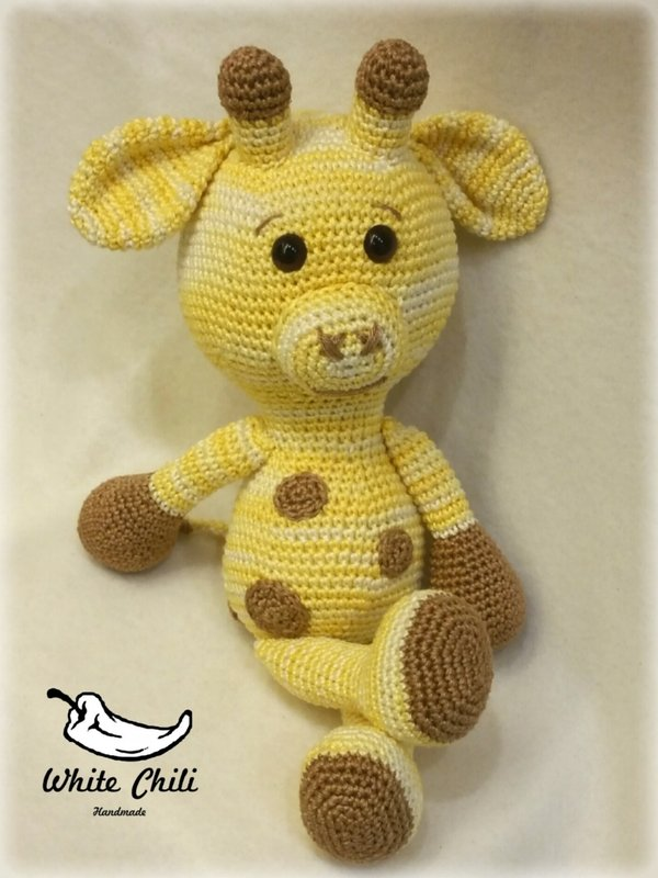 Amigurumi Hello Kitty Abeja : Giraffe Gisela, big Amigurumi, Original White Chili-Handmade!