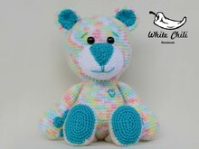 Teddy Bear Happy, big Amigurumi, Original White Chili-Handmade!