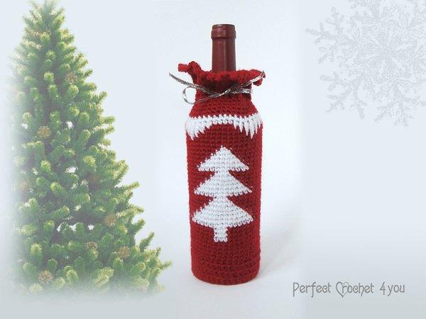 Christmas Wine Bottle Bag Pattern Christmas Gift Idea Crochet Wine