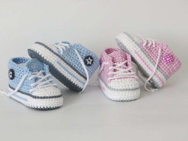 Babyschuhe häkeln / trendige Babyturnschuhe