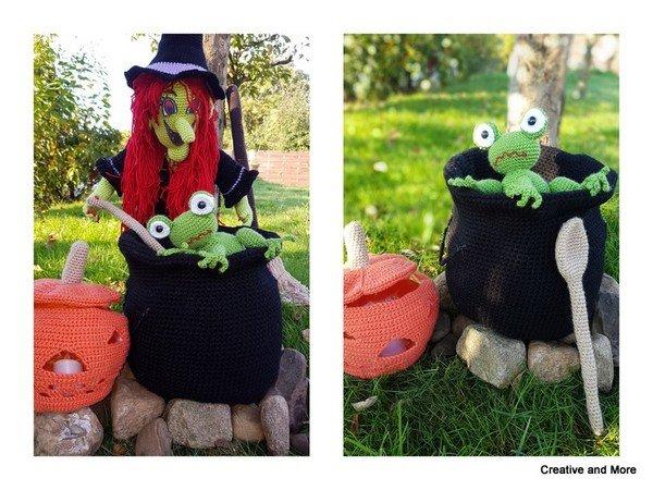 Halloween-Deko häkeln /// Hexe mit Hexenküche