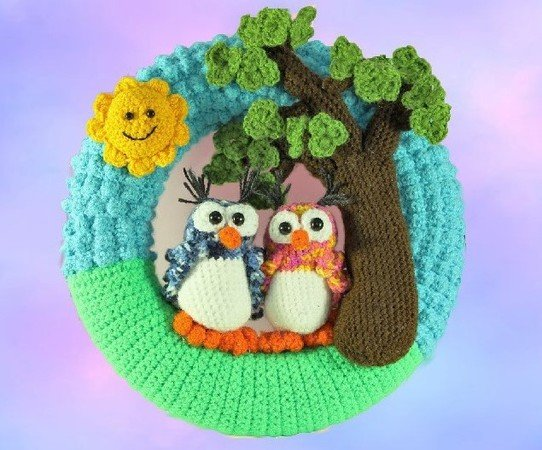 Door Wreath - Owls in love