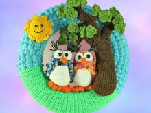 Door wreath - couple of owls in love - crochet pattern