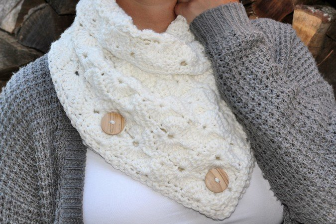 "crochet pattern shawl collar ""wintertime"""