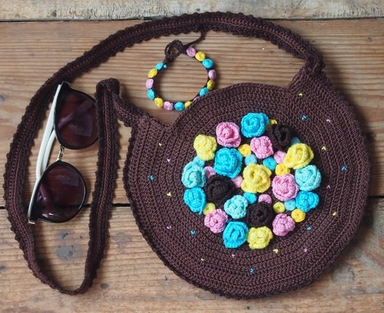 Flower Bag And Bracelet Crochet Pattern With Embroidery