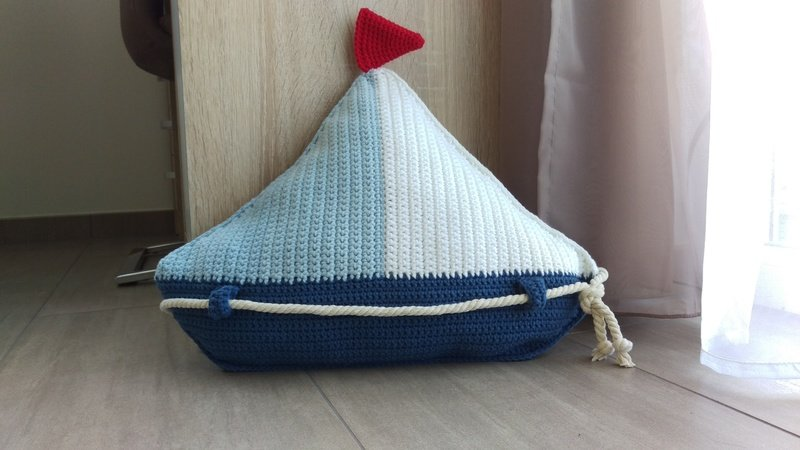 Crochet Pattern Sail Boat Pillow