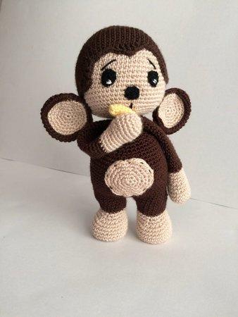 Beige crochet monkey toy knitted brown little monkey mini | Etsy | 450x338