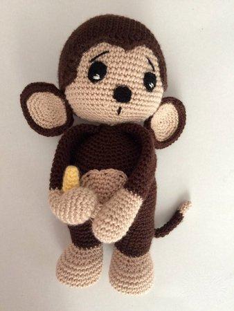 Amigurumi crochet mini #monkey toy pattern as baby gift idea for ... | 450x338