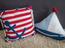 Crochet Pattern Sail Boat Pillow and Anchor Pillow