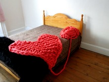 Knitted Heart Blanket (Arm Knitting)